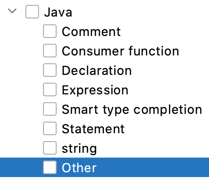 Java contexts for Live Templates